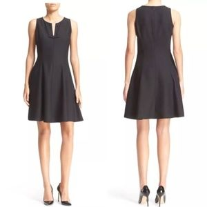 Kate Spade Black Crepe Fit And Flare Dress